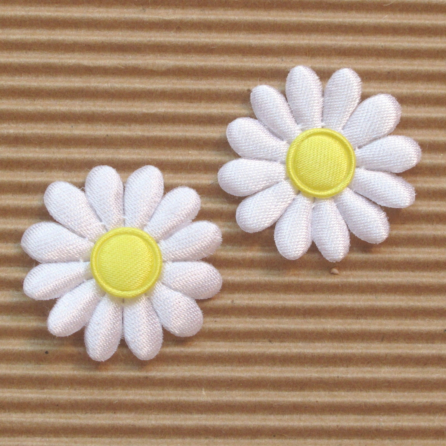 Set Of 20 White With Yellow Center Satin Daisy Flower And Etsy
