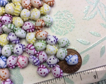 SET of 50 Bright and Colorful Kitty Cat Head Beads/DIY/silver beads/findings/lot of beads