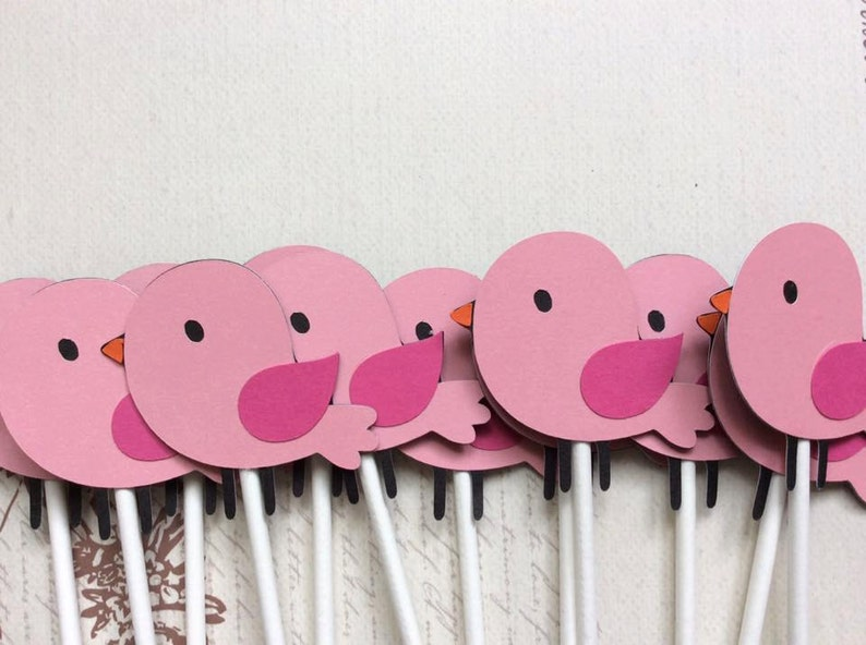 12 Lil/' Baby Pink Birds Cupcake toppersbaby showerbirthday toppers party decorationbaby toppers shower toppers