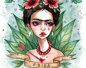 Frida Kahlo Original watercolor illustration