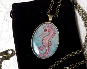 Necklace. Seahorse. Original art.