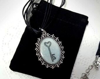 Necklace. Key. Original art.