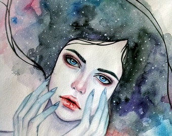 Original watercolor art Space Lady