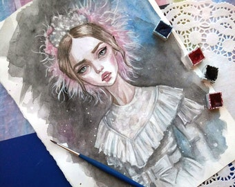 Original watercolor art. Fashion.