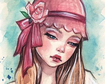 Art Card. Fine Art Print. New pink hat.