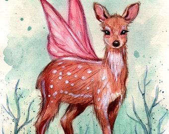 Art Card. Fine Art Print. Fawn.