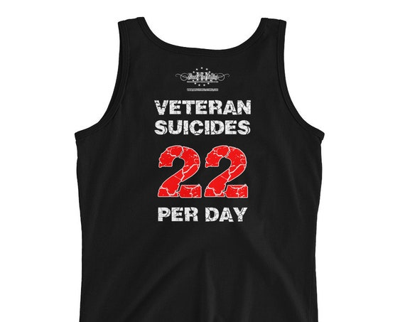 NEW DESIGN! Veteran Suicide Awareness, Large Flag logo, Two dollars of every sale goes to help veterans with PTSD Ladies' Tank