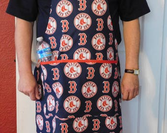 MEN'S REDSOX APRON -- unisex x-large apron with drink pocket -- Boston Red Sox baseball