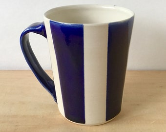 Modern Graphic Blue and White Stripe Handmade Ceramic Mug for Coffee Tea