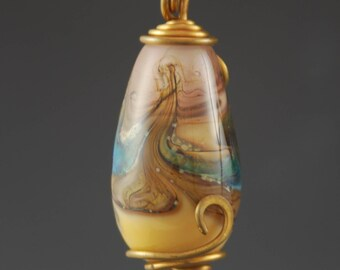 Glass Pendant, Organic, Brown, Artisan Glass Bead, Necklace, Tammie Mabe, Wire Wrapped, Brass Wire, Handmade, Artisan Jewelry, USA, Lampwork