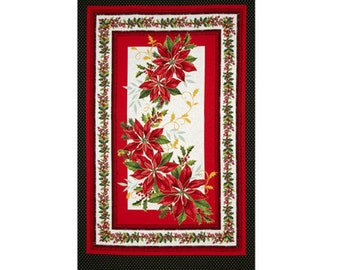 Holiday Blooms Christmas Fabric Pointsettia MBT Cotton Quilt Fabric