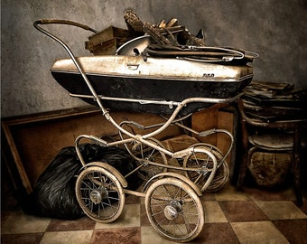 Baby carriage. Baby cart. Baby trolley.