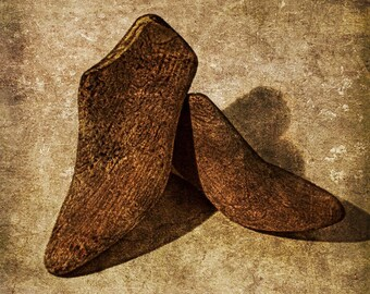 Old wooden shoe lasts. Fine art photography.