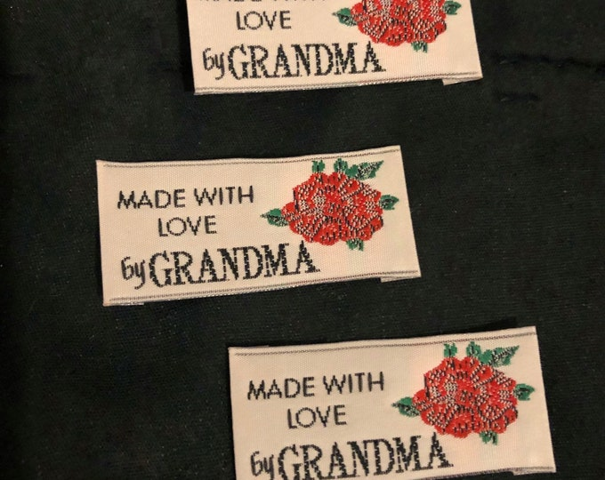 Lot of 3 vintage sewing labels for inside clothes made with love by grandma