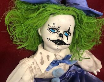 Sale creepy doll sitting green hair little girl clown spooky ooak gothic circus horror halloween art by christie creepydolls