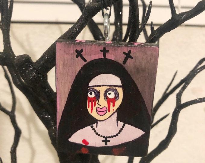 Creepy ornament mini art original acrylic painting on wood weeping tears of blood nun by christiecreepydolls