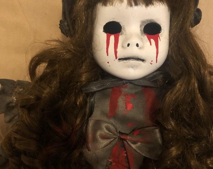 creepy doll crying sad tears of blood pouty mourning girl with bonnet spooky ooak gothic horror halloween art by christie creepydolls
