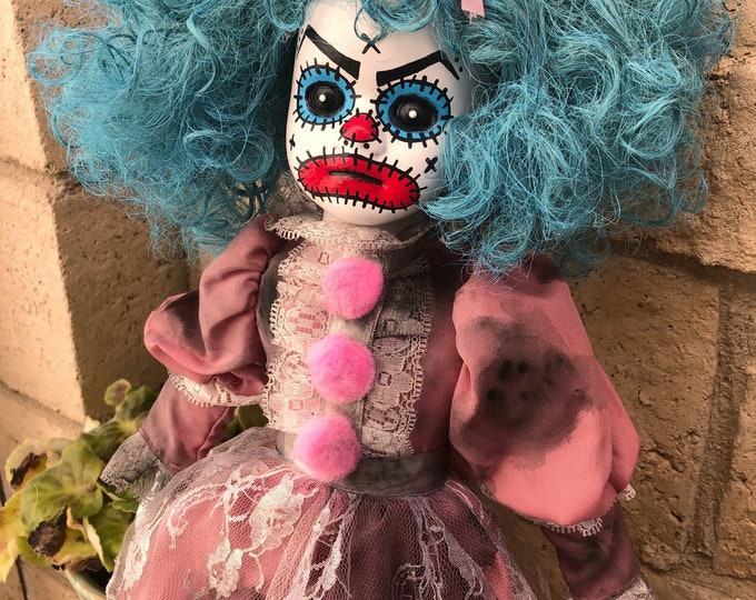 Creepy doll angry blue hair clown in pink ooak gothic horror halloween art