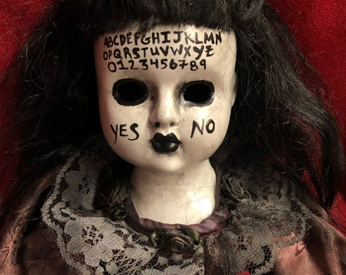 creepy sitting black hair ouija board girl spooky ooak gothic horror halloween art by christie creepydolls