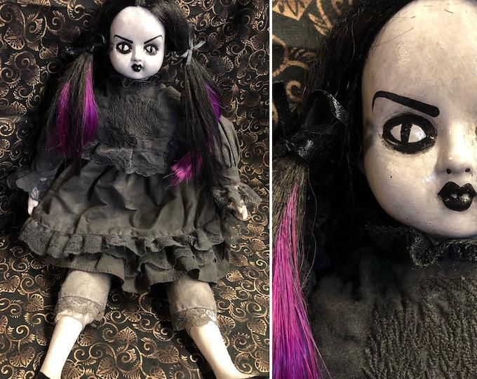 creepy doll Ooak Gothic Horror Black & Purple  hair girl Halloween Repaint Custom