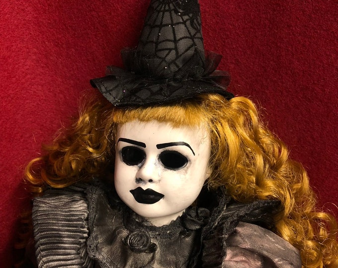 Free usa shipping creepy doll mourning witch  spooky ooak gothic horror halloween art by christie creepydolls