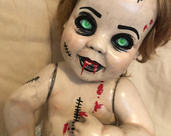 creepy doll green eyes demon baby toddler  spooky ooak gothic horror halloween art by christie creepydolls