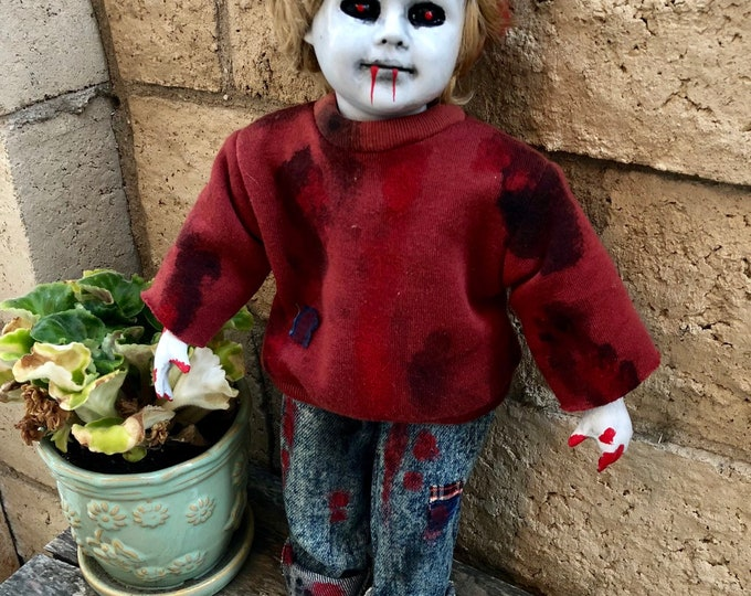 Creepy doll zombie boy in jeans ooak gothic horror halloween art by christie  creepydolls