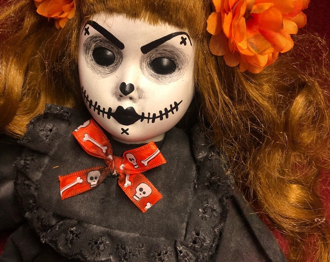 creepy doll smaller sitting day of the dead mourning girl spooky ooak gothic horror halloween art by christie creepydolls
