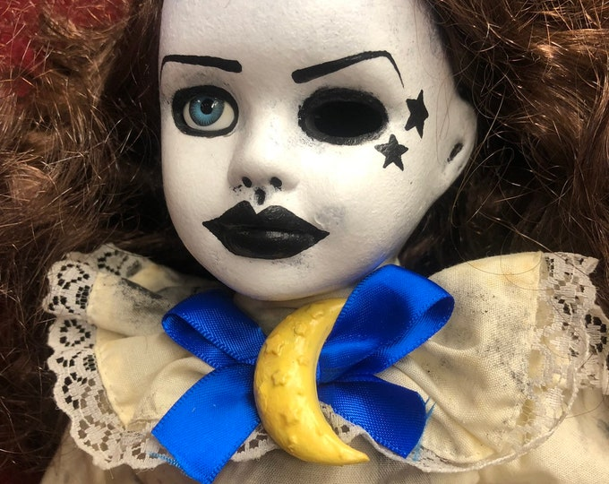 Free usa shipping creepy doll moon and stars lady spooky ooak gothic horror halloween art by christie creepydolls