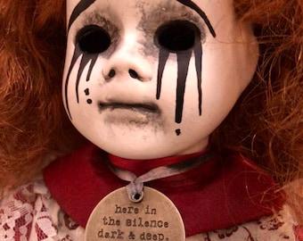 Free usa shipping Redhead with death word charm ooak creepy gothic horror halloween art doll with mascara tears by christie  creepydolls