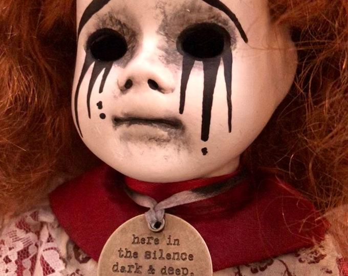 Creepy doll Redhead with death word charm ooak gothic horror halloween art with mascara tears by christie  creepydolls