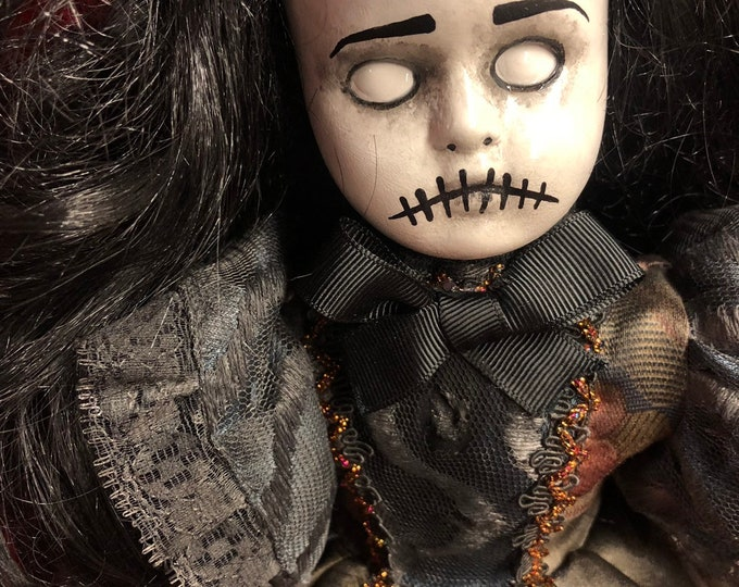 creepy doll black hair stitches mourning girl spooky ooak gothic horror halloween art by christie creepydolls