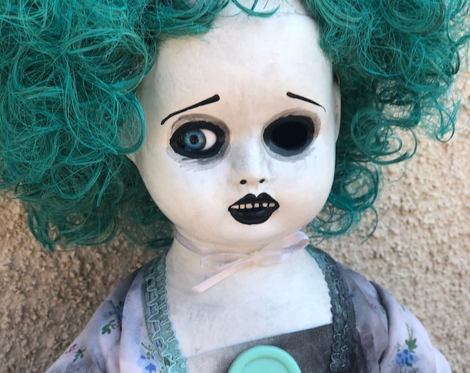 creepy sitting blue hair pretty girl spooky ooak gothic horror halloween art by christie creepydolls