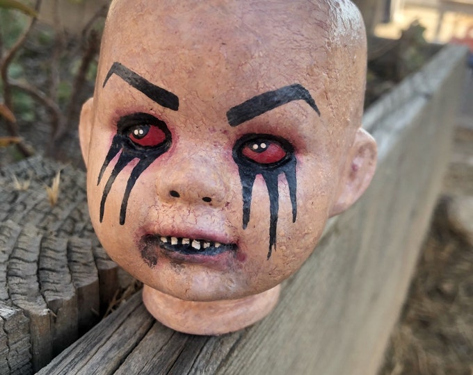 crackle paint doll head ooak halloween horror creepy art doll by christie creepydolls