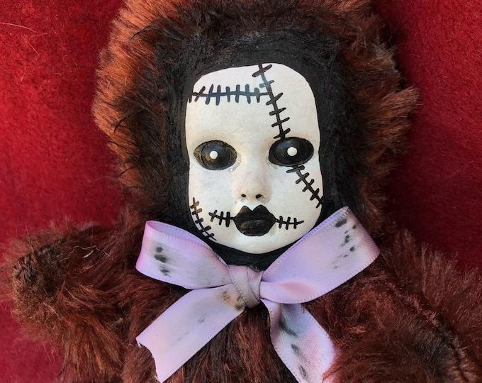 Free usa shipping Creepy doll ooak stitches black eye teddy bear plush halloween horror art by christie creepydolls