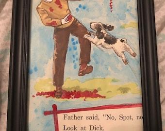 Bloody clown man with dog weird framed original old book art drawing painting by christiecreepydolls