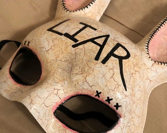 Liar bunny rabbit mask halloween costume hand painted punishment renn faire fetish by christiecreepydolls