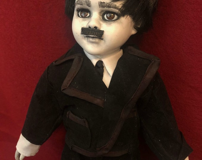 Creepy doll edgar allen poe with raven book ooak horror halloween art by christie creepydolls