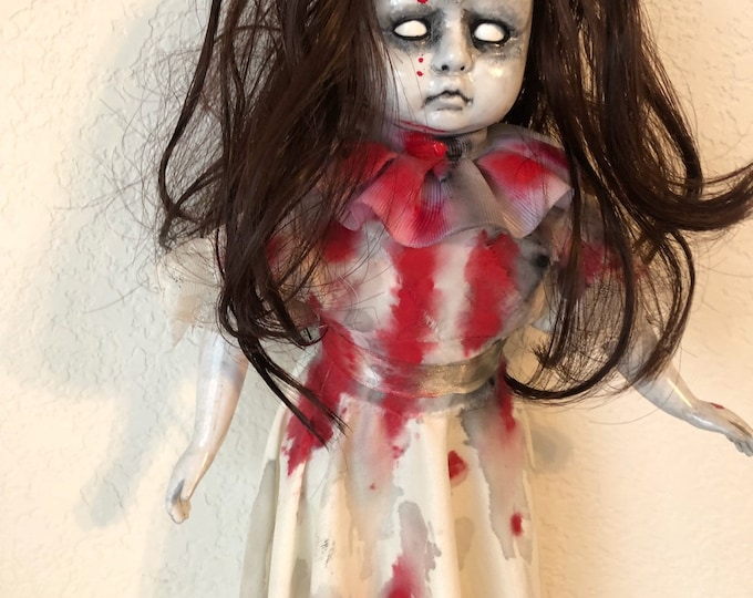 Creepy doll evil hanging spirit ghost vampire doll with cross burned into forehead halloween horror art gothic