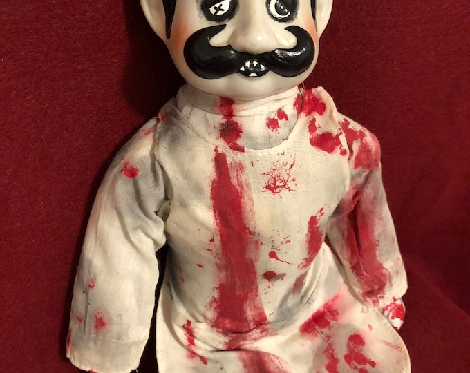 creepy doll sitting bloody butcher man with moustache ooak gothic horror halloween art by christie creepydolls
