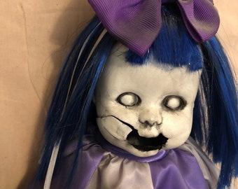 creepy doll screaming clown girl spooky ooak gothic horror halloween art by christie creepydolls