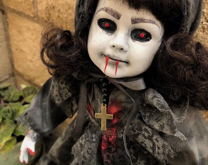 Creepy doll vampire funeral death girl with rosary spooky ooak gothic horror halloween art by christie creepydolls
