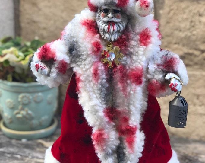 Creepy doll ooak halloween santa claus blood christmas tree topper by christiecreepydolls