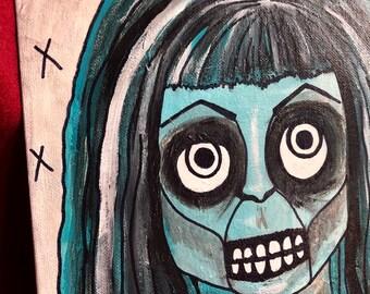 9 x 12 Creepy zombie skeleton woman original art acrylic monotone outsider art painting by christiecreepydolls