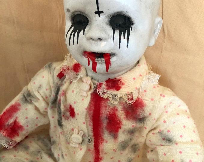 creepy doll evil bloody baby bald head  spooky ooak gothic horror halloween art by christie creepydolls