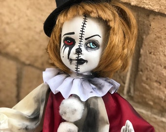 Free usa shipping Half and half clown girl ooak horror halloween cute art doll by christie creepydolls