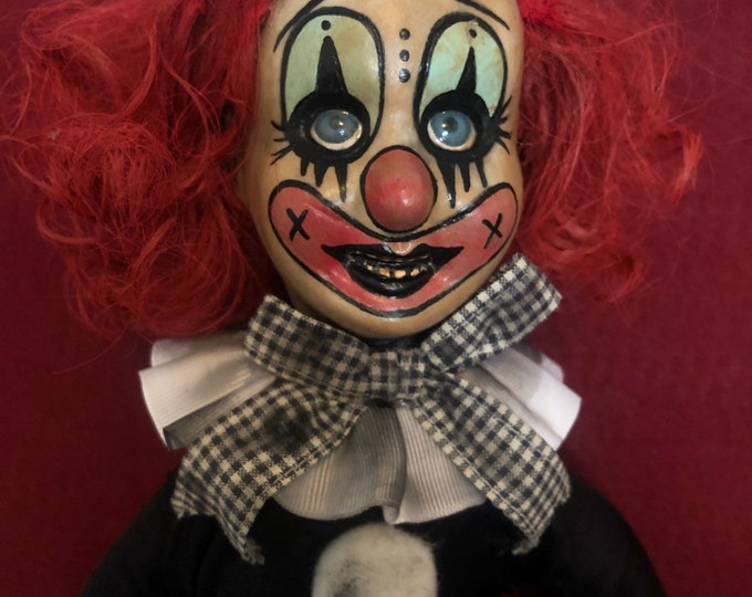creepy doll hanging weird clown woman spooky ooak gothic horror halloween art by christie creepydolls