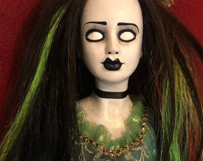 creepy doll black and green hair lady with white eyes spooky ooak gothic horror halloween art by christie creepydolls