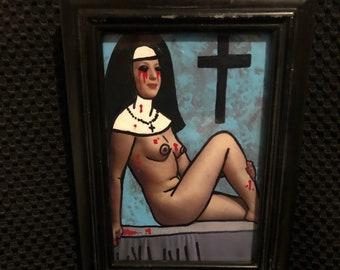 Creepy art Framed original acrylic collage painting naughty nude nun by christiecreepydolls