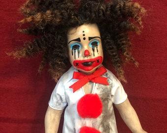 creepy doll small  clown girl spooky doll ooak gothic horror halloween art by christie creepydolls